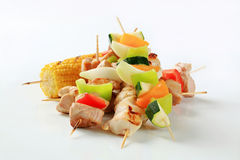 Meat and vegetable skewers Stock Photography