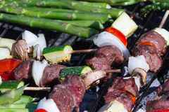 Meat and vegetable skewers Stock Photo