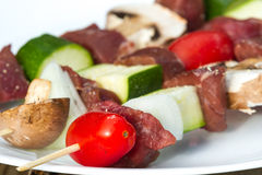 Meat and vegetable skewers Royalty Free Stock Photos