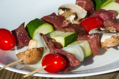 Meat and vegetable skewers Royalty Free Stock Photo