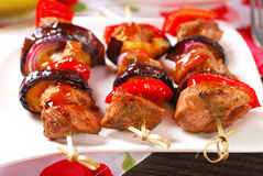 Meat and vegetable skewers with teriyaki sauce Royalty Free Stock Photos