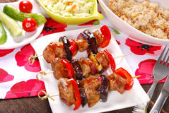 Meat and vegetable skewers with teriyaki sauce Stock Photography