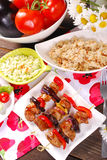 Meat and vegetable skewers with teriyaki sauce for lunch Royalty Free Stock Photography