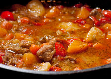 Meat and vegetable stew cooking Royalty Free Stock Photos