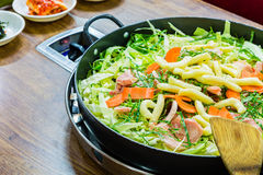 Meat vegetable stir-fry Stock Photo