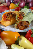 Meat and vegetable wrap. With elk meat royalty free stock photo