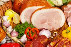 Meat and vegetables Stock Images