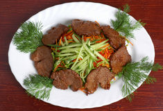 Meat with vegetables 3. Meat with vegetables (cucumbers, carrot, Bulgarian pepper) 3 Stock Photography