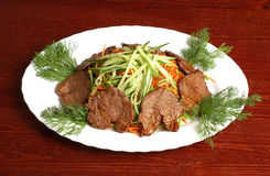 Meat with vegetables 4. Meat with vegetables (cucumbers, carrot, Bulgarian pepper) 4 Stock Images