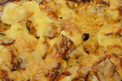 Meat with vegetables baked with cheese. Stock Photo