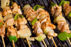 Meat and vegetables on barbecue sticks - closeup stock images