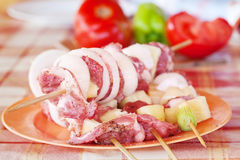 Meat and vegetables on barbecue sticks Royalty Free Stock Images
