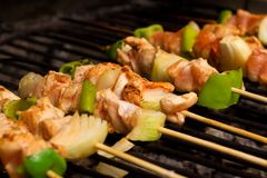 Meat and vegetables barbeque Royalty Free Stock Images