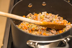 Meat and vegetables for bolognese sauce Royalty Free Stock Images