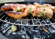 Meat and vegetables char-grilled Stock Images