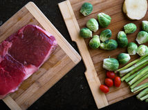Meat and vegetables Stock Image