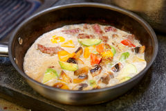 Meat and vegetables cooked in cream Stock Photo