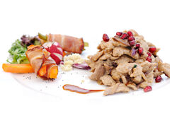 Meat vegetables and fruits Stock Image