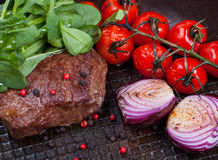 Meat and vegetables in frying pan Royalty Free Stock Photos