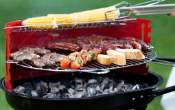 Meat and vegetables on grill Royalty Free Stock Photography