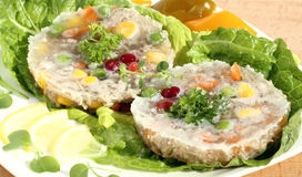 Meat with vegetables in jelly Royalty Free Stock Photo