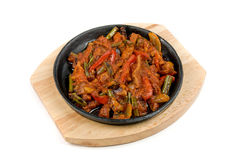 Meat with vegetables at pan Royalty Free Stock Photography