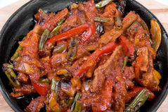 Meat and vegetables at pan Stock Image
