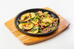 Meat and vegetables in the pan Royalty Free Stock Photo