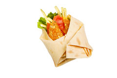 Meat and vegetables in pita bread on a white background Royalty Free Stock Photos