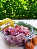 Meat and vegetables prepared for barbecue Royalty Free Stock Photos