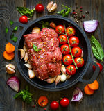 Meat and vegetables. Stock Images