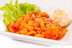 Meat with vegetables and rice in sweet-sour sauce Stock Image