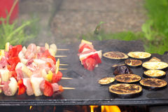 Meat and vegetables skewers barbecue Royalty Free Stock Photo