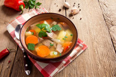 Meat and vegetables soup Royalty Free Stock Image