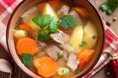 Meat and vegetables soup Stock Images
