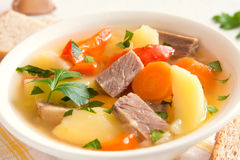 Meat and vegetables soup Royalty Free Stock Images