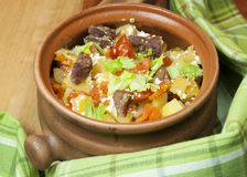 Meat and vegetables with sour cream and green celery  in a pot Stock Photography