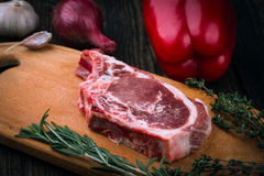 Meat, vegetables and spices Stock Photography