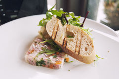 Meat and vegetables terrine. In a restaurant Royalty Free Stock Photos