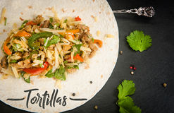 Meat and vegetables in a tortilla Royalty Free Stock Photography