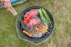 Meat And Veggies Cooking On Barbecue Royalty Free Stock Photos