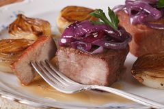 Meat with white and red caramelized onions on a plate Stock Photography