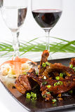 Meat and wine Stock Images