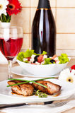 Meat, wine and salad Stock Image
