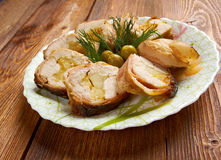 Meat wrapped rolls with turkey Stock Photos