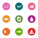 Meat yummy icons set, flat style. Meat yummy icons set. Flat set of 9 meat yummy vector icons for web isolated on white background Stock Photo