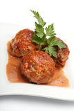 Meatball. And parsley isolated on white Stock Photo