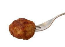 Meatball. Isolated fried meatball on white Stock Images