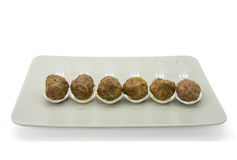 Meatball. S made with veal and pork with red wine sauce reduction royalty free stock photos