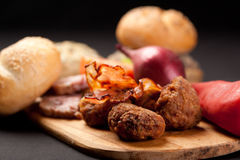 Meatball  appetizer. With grilled ham and vegetables Stock Images